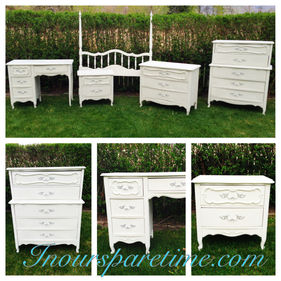 Adorable French Provincial 5 piece Bedroom set! - In Our Spare Time