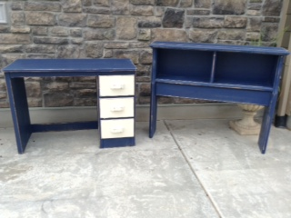 Navy Blue And Cream Desk And Headboard Set In Our Spare Time