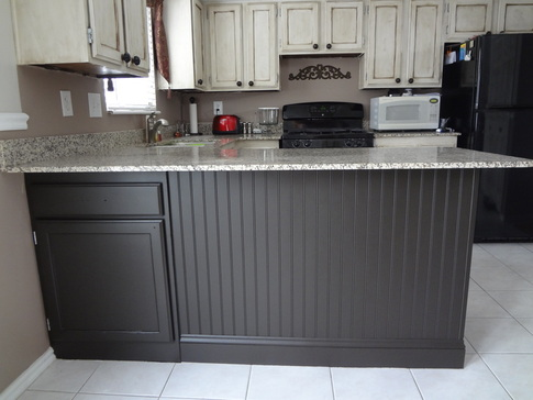 wainscoting on kitchen island adding beadboard to your kitchen island in our spare time 6927
